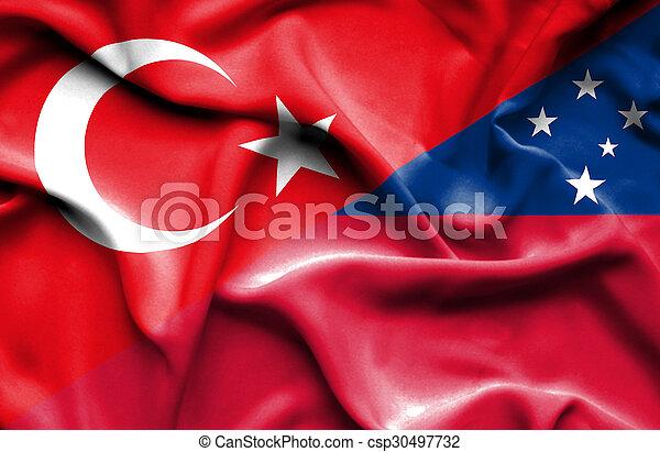 Waving flag of Samoa and Turkey - csp30497732