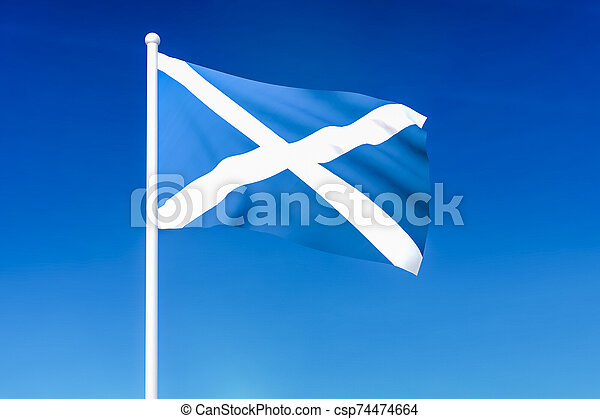 Waving flag of Scotland on the blue sky background - csp74474664