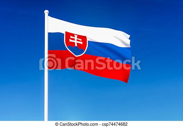 Waving flag of Slovakia on the blue sky background - csp74474682