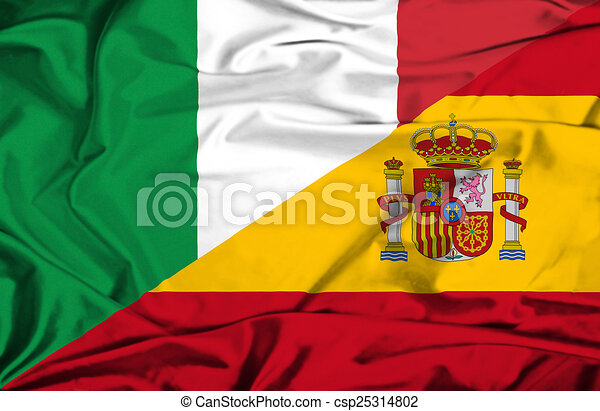 Waving Flag Of Spain And Italy Canstock