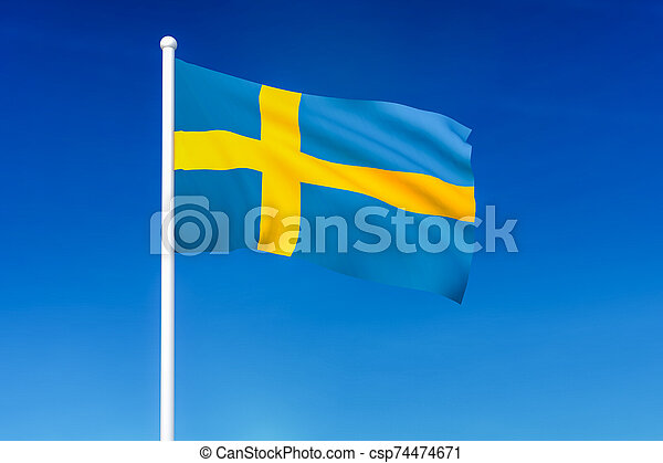 Waving flag of Sweden on the blue sky background - csp74474671
