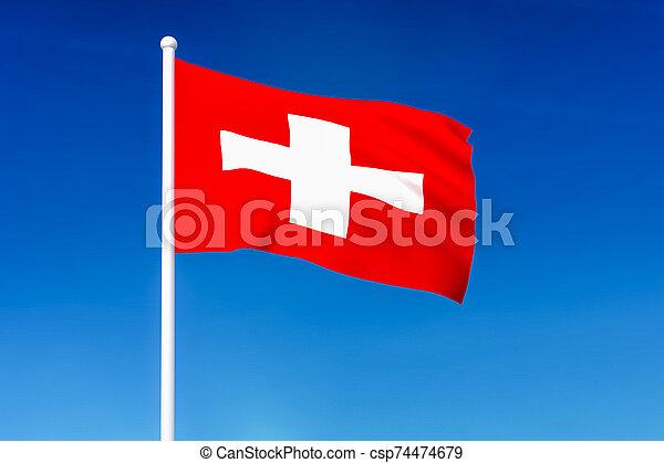 Waving flag of Switzerland on the blue sky background - csp74474679