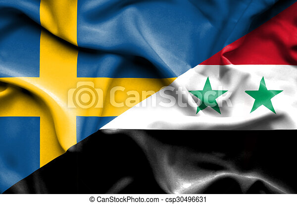 Waving Flag Of Syria And Sweden Waving Flag Of Syria And Drawings - Syria flag