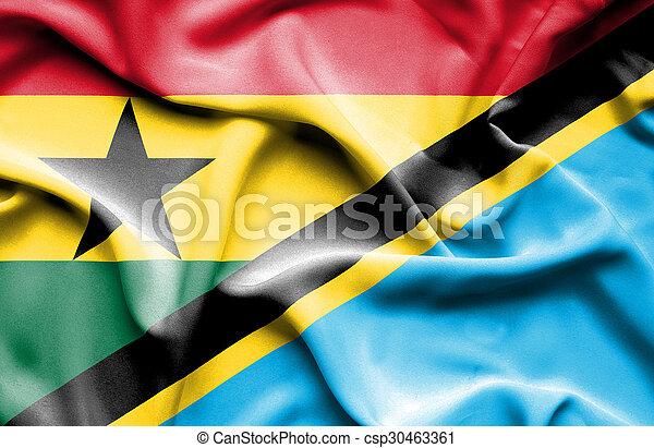 Waving flag of Tanzania and Ghana - csp30463361