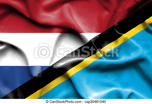 Waving flag of Tanzania and Netherlands - csp30461040