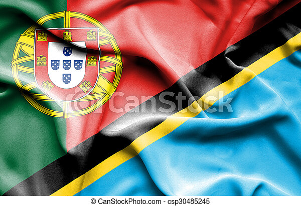 Waving flag of Tanzania and Portugal - csp30485245