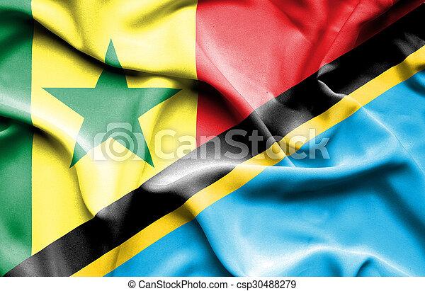 Waving flag of Tanzania and Senegal - csp30488279