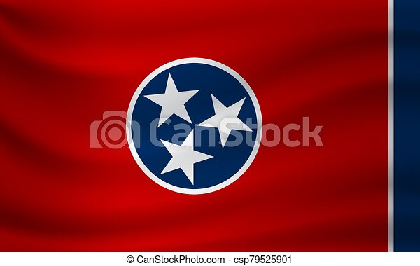 Waving flag of Tennessee. Vector illustration - csp79525901
