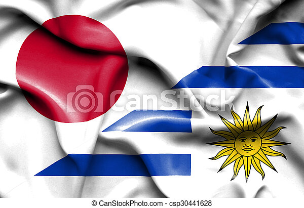 Waving flag of Uruguay and Japan - csp30441628