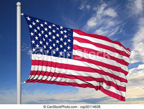 Waving flag of USA on flagpole, on blue sky background. - csp30114638