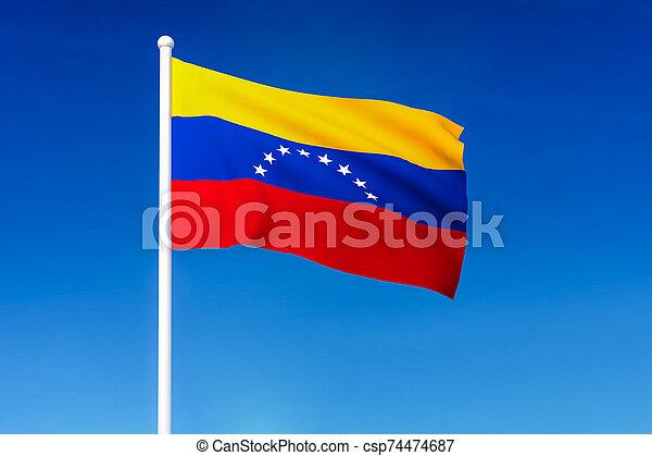 Waving flag of Venezuela on the blue sky background - csp74474687
