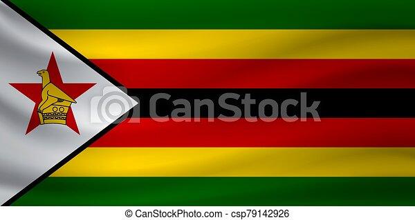 Waving flag of Zimbabwe. Vector illustration - csp79142926