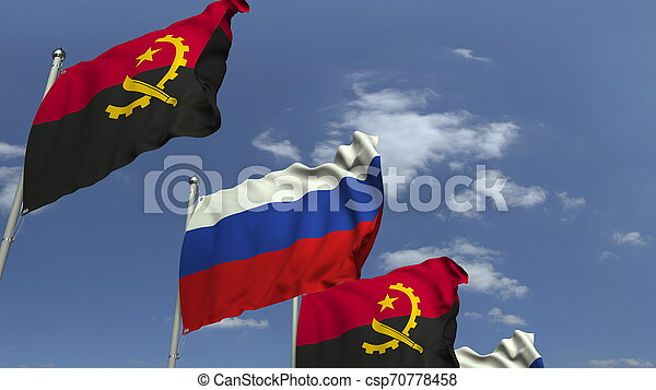 Waving flags of Angola and Russia, 3D rendering - csp70778458