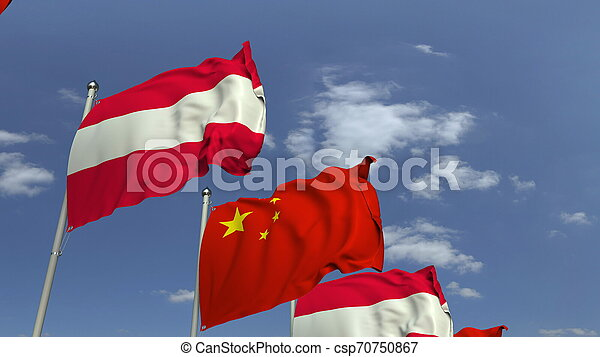 Waving flags of Austria and China on sky background, 3D rendering - csp70750867