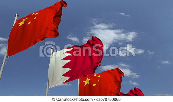 Waving flags of Bahrain and China on sky background, 3D rendering - csp70750865