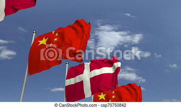 Waving flags of Denmark and China on sky background, 3D rendering - csp70750842