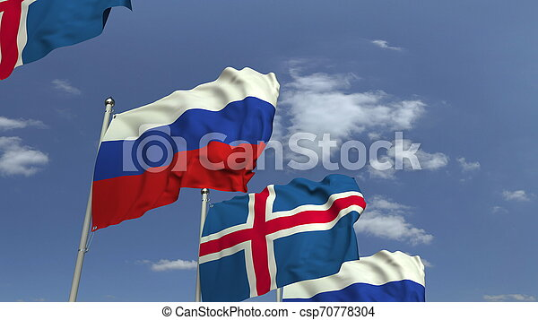 Waving flags of Iceland and Russia, 3D rendering - csp70778304