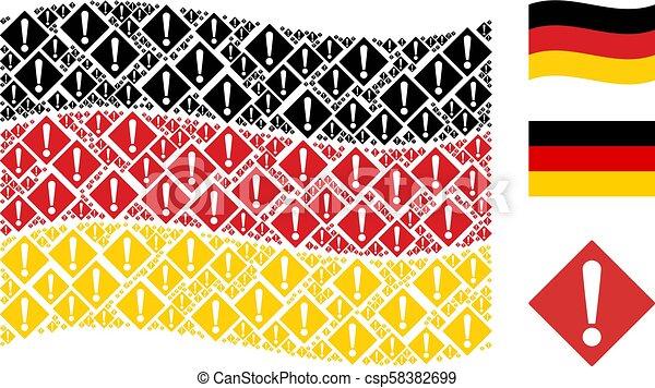 Waving German Flag Pattern of Warning Items - csp58382699