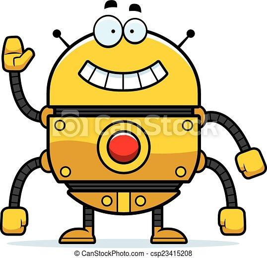 Waving Gold Robot - csp23415208