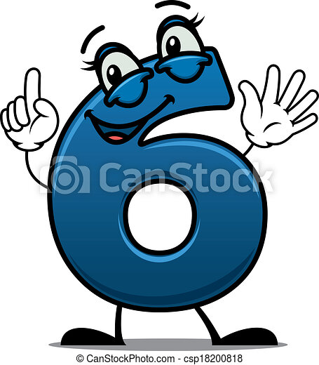 waving happy number 6 with an adorable smile raising a vector rh canstockphoto com number 6 clipart black and white numbers 1-6 clipart