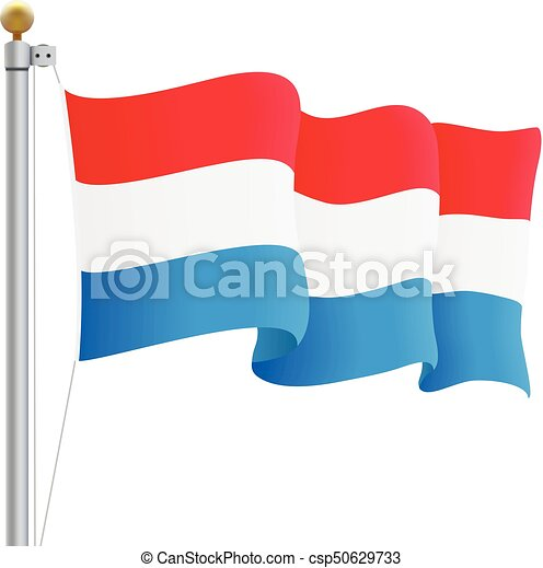 Waving Luxembourg Flag Isolated On A White Background. Vector Illustration. - csp50629733