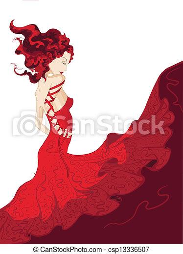 waving, mulher, vestido, jovem, vermelho - csp13336507