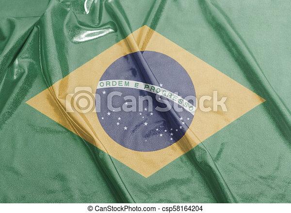 Waving National flag of Brazil - csp58164204