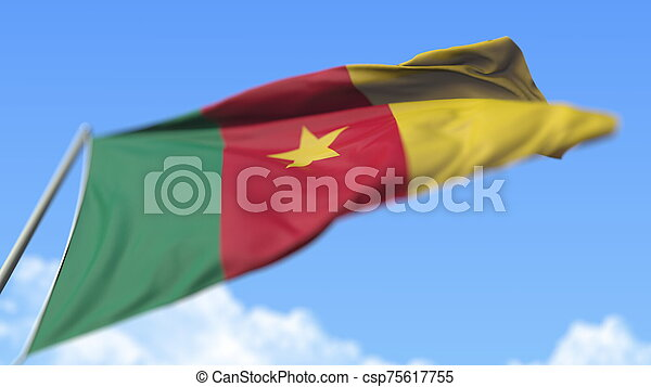 Waving national flag of Cameroon, low angle view. 3D rendering - csp75617755