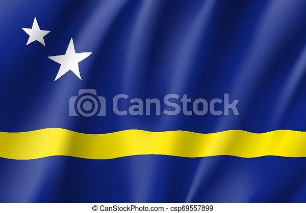 Waving national flag of Curacao island - csp69557899