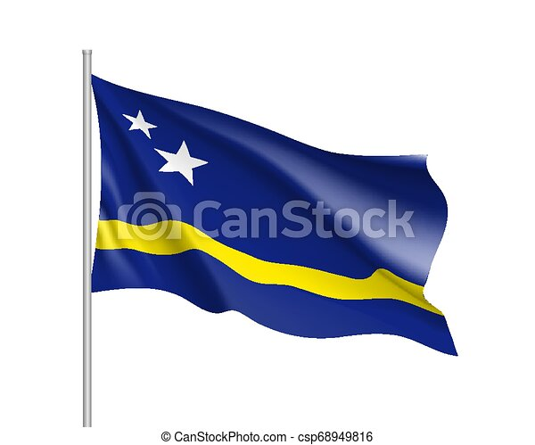 Waving national flag of Curacao island - csp68949816