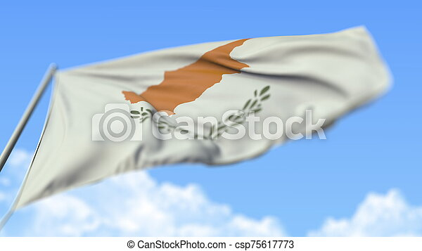 Waving national flag of Cyprus, low angle view. 3D rendering - csp75617773