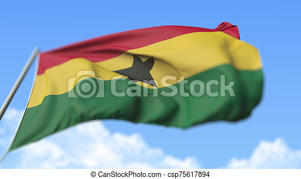 Waving national flag of Ghana, low angle view. 3D rendering - csp75617894