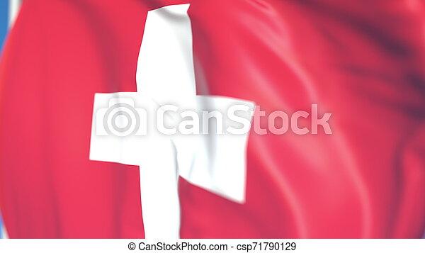 Waving national flag of Switzerland close-up, 3D rendering - csp71790129