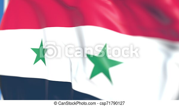 Waving national flag of Syria close-up, 3D rendering - csp71790127