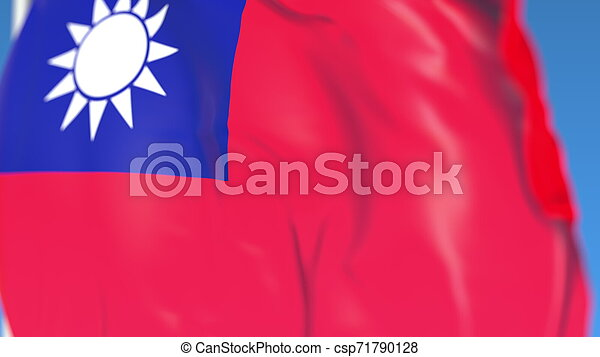 Waving national flag of Taiwan close-up, 3D rendering - csp71790128