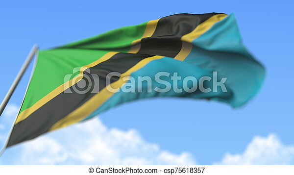 Waving national flag of Tanzania, low angle view. 3D rendering - csp75618357