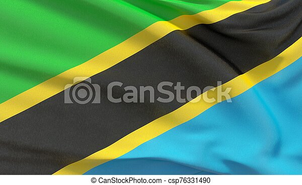 Waving national flag of Tanzania. Waved highly detailed close-up 3D render. - csp76331490