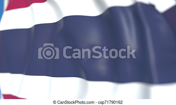 Waving national flag of Thailand close-up, 3D rendering - csp71790162