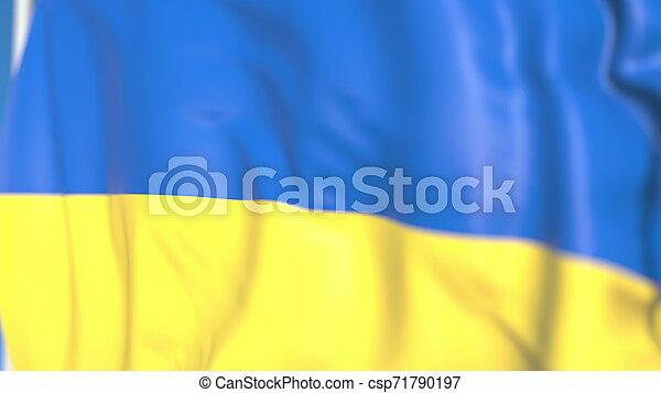 Waving national flag of Ukraine close-up, 3D rendering - csp71790197