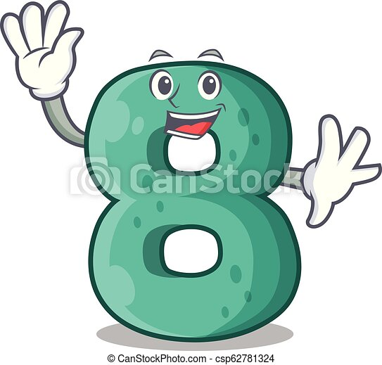 Waving number house eight the shaped character - csp62781324