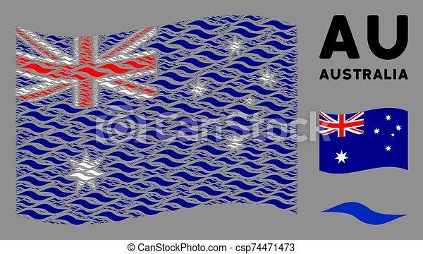 waving, onda, itens, colagem, forma, bandeira austrália - csp74471473