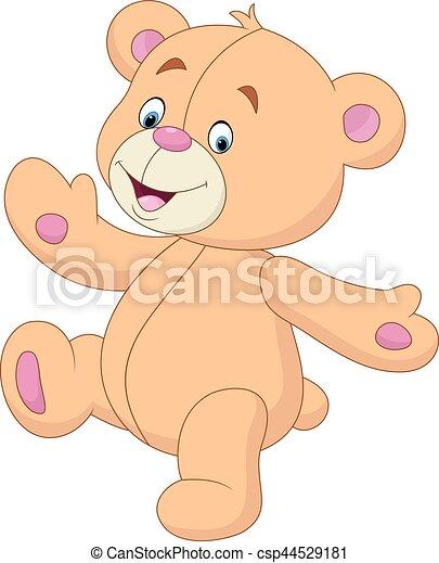 waving, pelúcia, caricatura, urso, mão - csp44529181