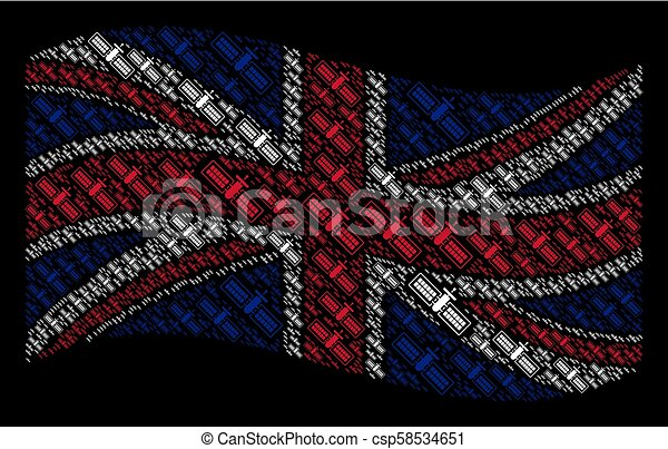 Waving UK Flag Pattern of Satellite Items - csp58534651