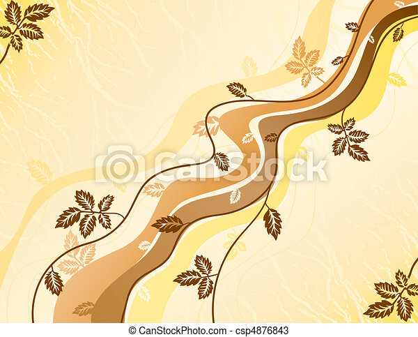 Wavy lines and autumn leaves background - csp4876843
