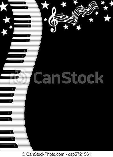 Wavy Piano Keyboard Black and White Background - csp5721561