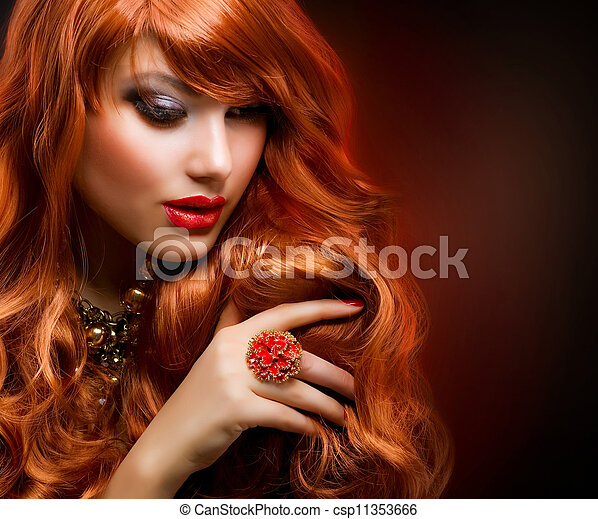 Wavy Red Hair. Fashion Girl Portrait - csp11353666