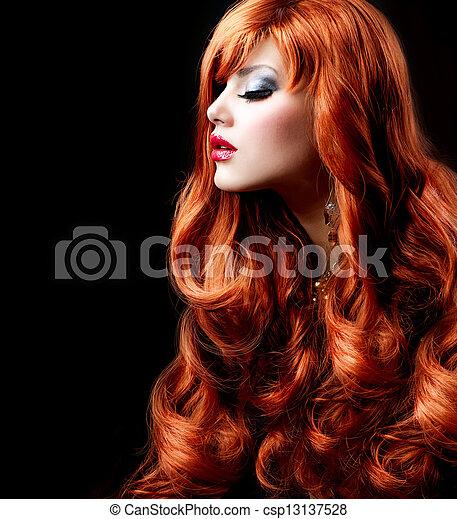 Wavy Red Hair. Fashion Girl Portrait  - csp13137528