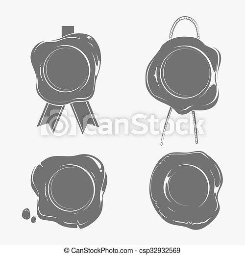 Wax seals black silhouette templates set. certificate stamp ...