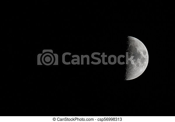 Waxing Moon Right Landscape with Copy Space - csp56998313
