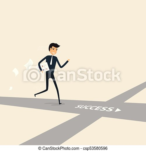 Way of success. Concept for success. Businessman walking on the street of success. - csp53580596